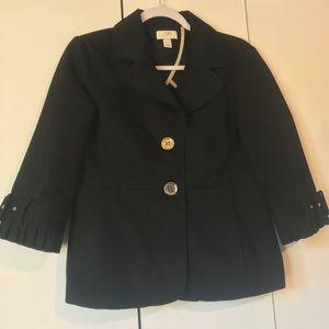 Navy Ann Taylor loft blazer pleated trim lined 10